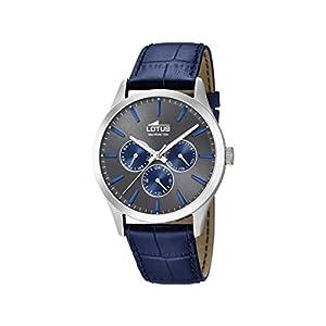 Lotus Watches Reloj Multiesfera para Hombre de Cuarzo con Correa en Cuero