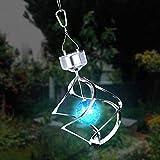 Qiman - Lámpara LED solar con forma de molino de viento, colores variados, impermeable, luz automática, para jardín, ventana, decoración colgante pequeño