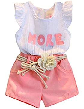 [Patrocinado]Ropa para chicas, RETUROM Letra cómoda bebé niña impresa sin mangas T-trajes camisa + pantalones cortos + correa