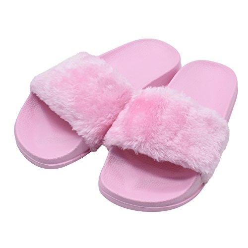 COFACE Damen Hübsche Plüsche Hausschuhe Eva Rutschfeste Pantoffeln Outdoor/Indoor in 5 Farben,Pink-41