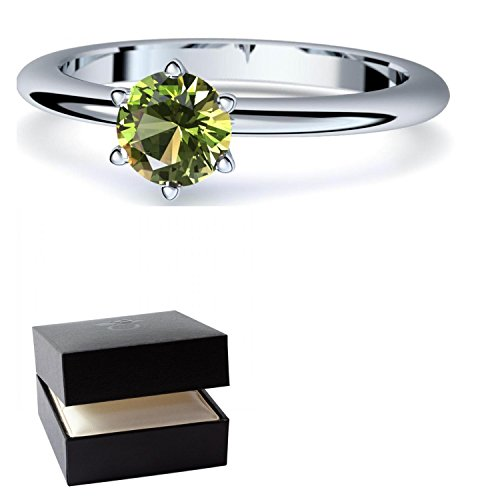 Kostüme Mann Frau Eisen (Peridot Ring Silber 925 (***sehr hochwertiger Peridot 5 mm***) + GRATIS Luxusetui Silberring grüner Stein Silberring Peridot Peridotringe Ringe Damen Schmuck AM195)