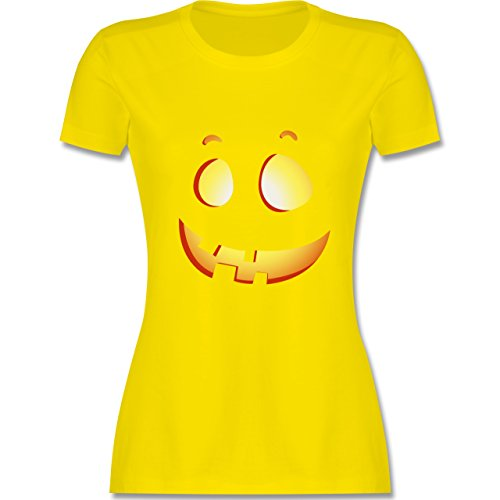 Shirtracer Halloween - Süßer Halloween-Kuerbis Kinder - Damen T-Shirt Rundhals Lemon Gelb