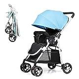 HRD Faltbarer Kinderwagen, Leichter Anti-Shock-Babywagen, Aufbewahrungskorb, geländegängiger, kompakt Kombikinderwagen, geeignet für Kinder von 0 bis 5 Jahren