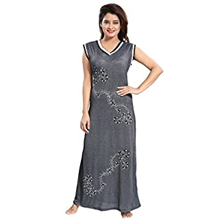 e9bfc9f34 TUCUTE Women Beautiful Grey Sleeveless Nighty Night Gown Night Dress (Size  XL-40   XXL-44) 2264