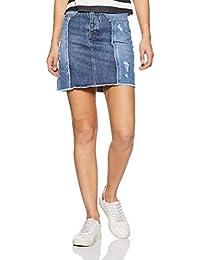VERO MODA Women's Pencil Knee-Long Skirt (2019403002_Medium Blue Denim_XS)