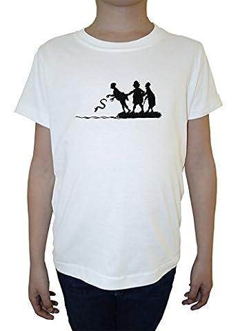 Wurf Schlange Jungen Kinder T-Shirt Rundhals Weiß Baumwolle Kurzarm Boys