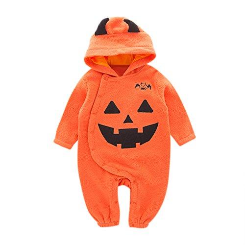 Wolf Halloween Kostüme Neugeborenen (Zantec Kleinkind Kleinkind Neugeborene Baby Langarm Rundhals Kürbis Muster Spielanzug Hooded)