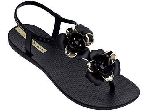 Ipanema Women's Floral Special Plastic Buckle Sandal Black-Black-6 Size 6