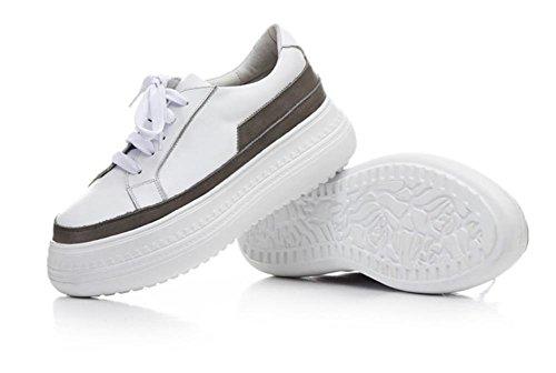 Primavera nuovo cuoio casuali in pelle scarpe singolo pattini spessi fondo piatto Grey
