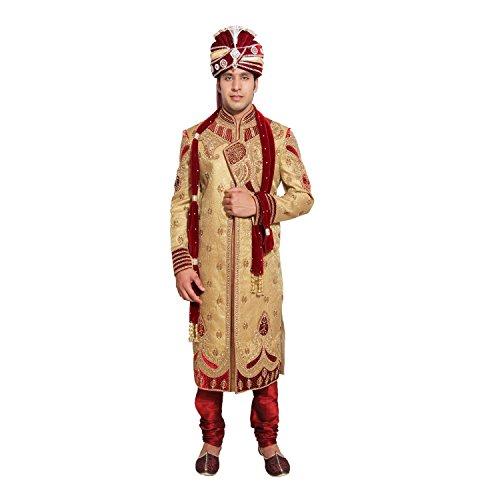 Favoroski Men's's Beige Embroidered Sherwani Size:- M