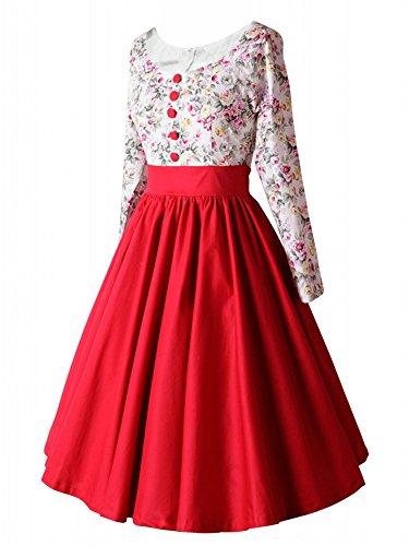 Luouse Robe de Soiree ,Vintage Rockabilly style,Retro Années 50, Jupe, Swing,Pin up ,Parfaite Pour Soiree Dansante Rouge