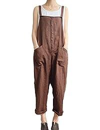 b9769e091960 Tuta Intera Donna Eleganti Moda Pantaloni Estivi Fionda Single Breasted  SmanicatoChic Ragazza con Tasche Senza Spalline