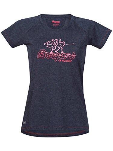 Damen T-Shirt Bergans T-Shirt navy mel/palered/palecora