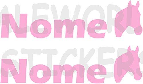 AWS 2Sticker SPORT mit Namen Personalisierte H 2cm Reiten Pferd ohne Hintergrund Paar Stickers Tuning mit Logo Sport Vinyl Wasserdicht Fahrrad Motorrad Fahrrad Helm Custom Name, Rosa