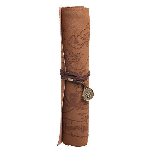 Gleader Retro Vintage sacchetto matita Pirate Tesoro Mappa modello Roll Up pelle PU sacchetto trucco (Pirata Mappa)