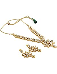 Andaaz Designer Gold Plated Kundan Necklace With Earring For Women And Girls