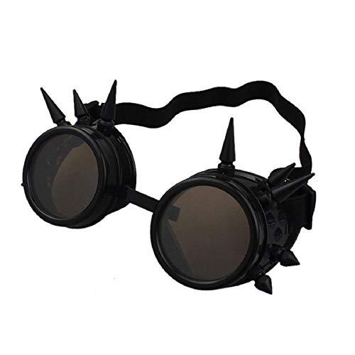 Ultra Schwarz mit Braunen Linsen Steampunk Brille Gläsern Cyber Viktorianischer Punk Schweißen Cosplay Goth Round Spike Vintage Rave Neuhei
