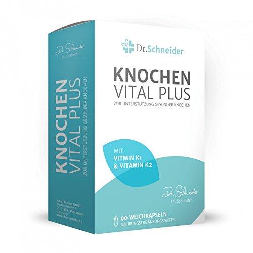 Dr. Schneider Knochen Vital Plus ● mit den Vitaminen C, D, K1 & K2 ● Calcium ● Leinöl reich an Omega-3 ● 90 Kapseln ● bekannt aus dem deutschen TV -