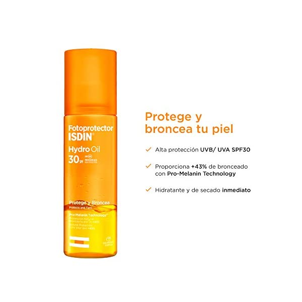 Fotoprotector ISDIN HydroOil SPF 30 – Protector solar corporal bifásico que protege y broncea la piel, 200 ml