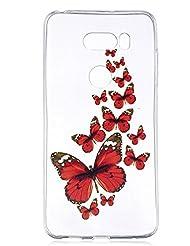 Coque pour LG V30 ,Housse en cuir pour LG V30 ,Cozy Hut ® Pour LG V30 , TPU avec Absorption de Choc, Etui Silicone Souple, Légère / Ajustement Parfait Coque Shell Housse Cover pour LG V30 - papillon rouge