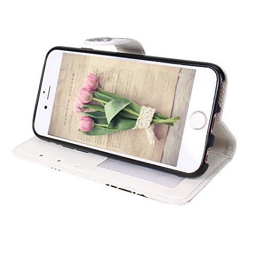 Etui Housse iPhone 6 Case,Coque Cuir iPhone 6S Housse Case Rosa Schleife®Etui Clapet Cuir Folio Portefeuille Case Cover Etui de Protection Portable telephone Wallet Housse Flip case PU Leather Pochett Fleur d'abricot