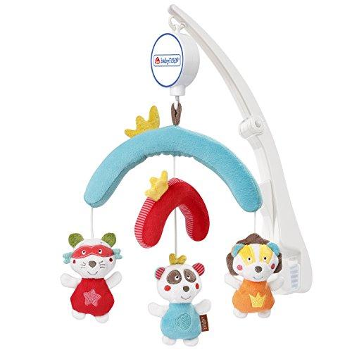 Fehn 067095 Reise-Mobile Jungle Heroes/Spieluhr-Mobile zum Mitnehmen - flexible Anbringung am Reisebett und Kinderbett/Für Babys und Kleinkinder von 0-5 Monaten