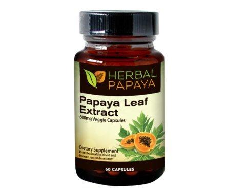 Papaya Leaf Extract 600mg, (10:1 Extract Strength) - 60 Veggie Capsules Test