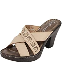 Catwalk Cream Slip-on Heel Sandals