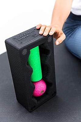 BLACKROLL BLOCK SET - das Original. Yoga-Block mit abgestimmtem Faszien-Ball und kleiner Faszien-Rolle, schwarz/grün/pink, AMSETBLBGPSACC