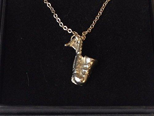 Saxophon 1,7cm x 2,5cm tg284feines englisches Zinn auf einem 61cm, versilberte Panzerkette Halskette geschrieben von uns Geschenke für alle 2016von Derbyshire UK