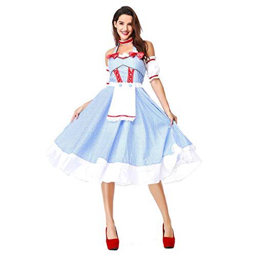 HOOLAZA Frauen Hellblau Rollenspiel Dorothy der Wunderbare Zauberer von Oz Kostüm Maid Sleeveless Dress 3 Pieces