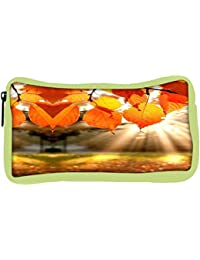Snoogg Eco Friendly Canvas Autumn Leaves Student Pen Pencil Case Coin Purse Pouch Cosmetic Makeup Bag