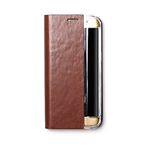 Zenus Basic Diary für Samsung Galaxy S7 Edge in braun [Weiches Kunstleder   Bookstyle   Ausschnitt für Schnellzugriff-Menü   Kartenfach auf Rückseite] - ZA600053