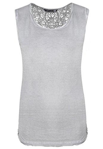 Fresh Made Vintage Spitzentop Uni | Damen Tank-Top mit Spitze Einfarbig im Used-Look Light-Grey XL (Baumwolle-feine Spitze)