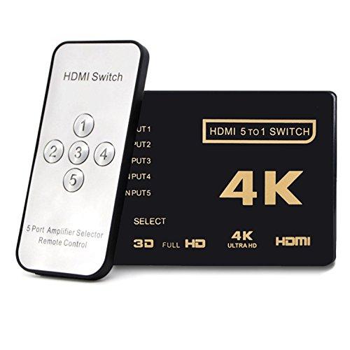 EzLink HDMI Switch 4K, Intelligente 2-Port HDMI Switch Splitter Switcher unterstützt 4K, Full HD1080P, 3D mit IR-Fernbedienung für Nintendo Switch, Xbox, Roku 3, Apple TV, HD TV, PS3PS4 -
