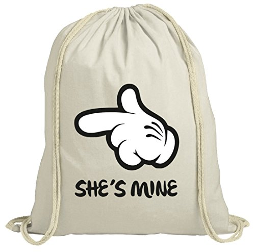 Geschenkidee natur Turnbeutel mit Valentinstag - Shes Mine Motiv Premium Natur