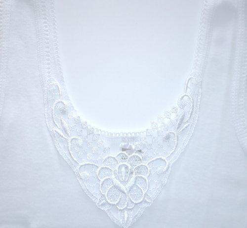 4 stück Damen Unterhemden mit schöner Spitze aus reiner Baumwolle, -ÖKO Tex Standard 100- Textiles Vertrauen Weiß