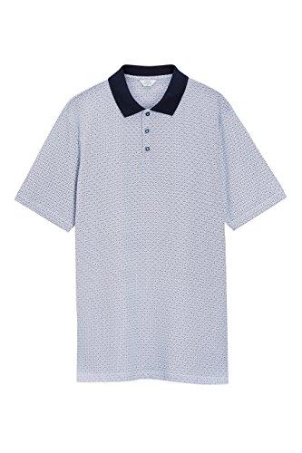 next Herren Gemustertes Poloshirt Regular Blau