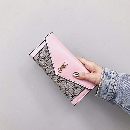 Ldyia Portemonnaie DamenportemonnaiePU-Druck Lange Brieftasche Abdeckung Typ Mutter-Kind-Brieftasche mit großer Kapazität Kupplung,pink