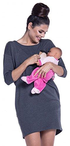 Zeta Ville - Premamá Vestido sudadera de lactancia manga 3/4 - para mujer - 038c (Grafito Mezcla, EU 42, XL)