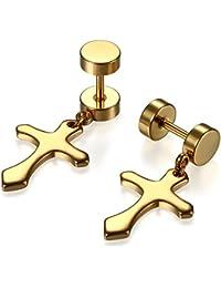 89d7adfb6530 JewelryWe Pendientes de Hombre Mujer Hip Hop Pendientes de Cruz Dorados  Plateados Negros