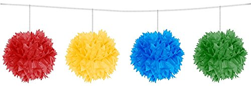 partydiscount24 Pom Pom Girlande Freie Farbwahl L: 3 m B: 12 cm + 2 Gratis Luftballons Ø 30 cm (Bunt)