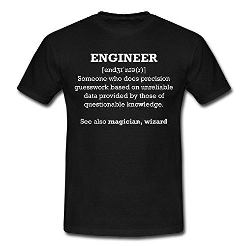 Spreadshirt Ingenieur Engineer Definition Witziger Spruch Nerd Männer T-Shirt, XL, Schwarz