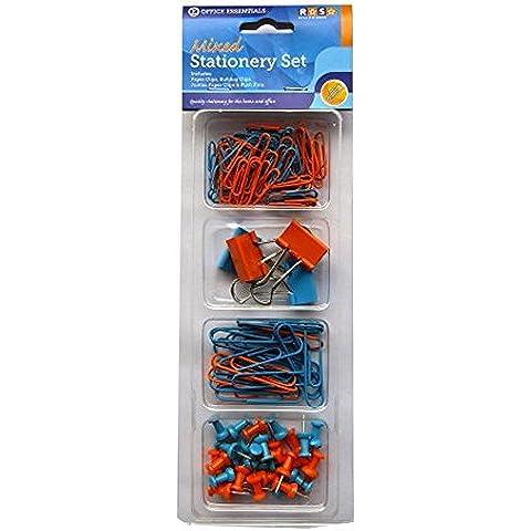 Stationery set di accessori, colore: arancione e verde, piccoli e grandi, Clip di Carta, puntine–Office