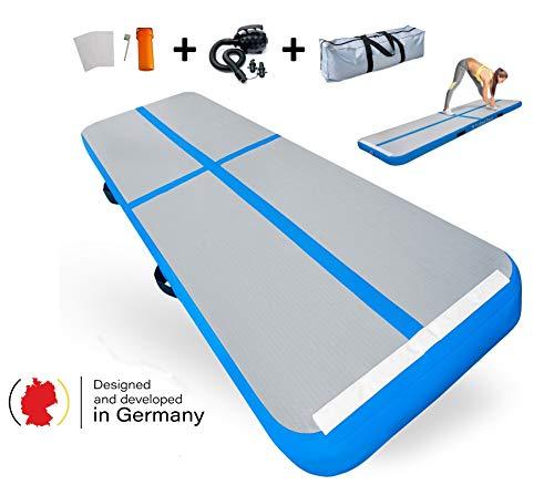 Turnkönig Air-Track Matte 3m blau aufblasbare Turnmatte für Zuhause, stabile Gymnastikmatte mit kostenloser Tragetasche/elektrischer Pumpe/Reparaturset
