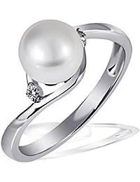 Goldmaid Damen-Ring Süßwasserzuchtperle 375 Weißgold 2 Brillanten SI/H