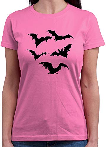 HARIZ  Damen T-Shirt Rundhals Fledermaus Fliegen Halloween Kostüm Verkleidung Umhang Inkl. Geschenk Karte Rosa ()