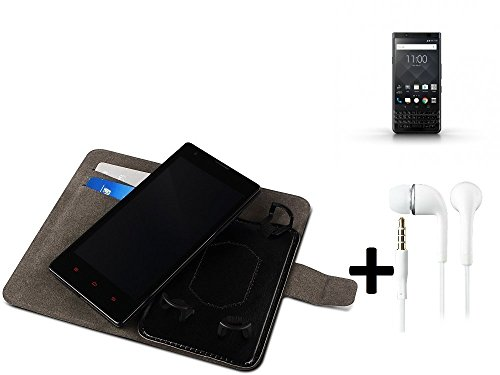 online retailer 08cdd ced0d TOP SET: Wallet Case Cover for Blackberry KEYone Black Edition +  headphones, black. Book Style sleeve for smartphone. Protective Flipstyle  Mobile ...