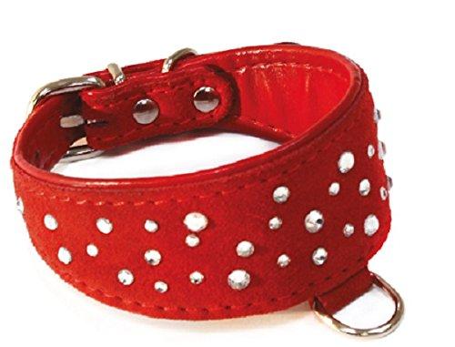 Chamois Wildleder (Croci Chamois-Halsband für Windhunde mit Kristallen, 28cm, rot)
