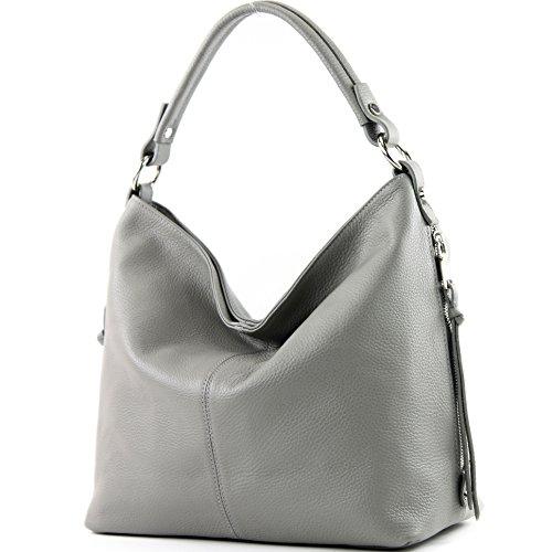 modamoda de - ital. Ledertasche Shopper Damentasche Bürotasche Schultertasche Leder T160, Präzise Farbe:Grau (Leder Grau Handtaschen)